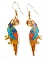 Vintage Cloisonne Enamel Long Parrot Bird Earrings.